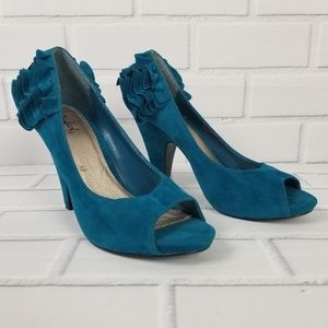 Qupid Womans Size 7-1/2 Turquoise High Heels